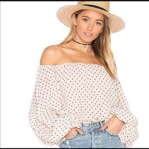 Lovers + friends emery polka dot blouse